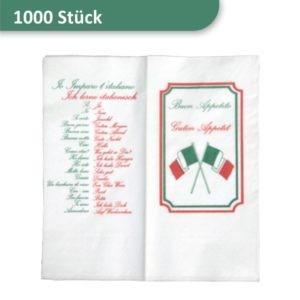 Packung weiße Servietten mit Motiv Ich lerne italienisch