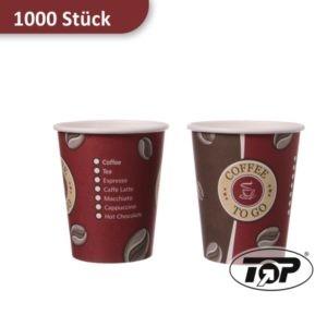 Kaffeebecher aus Pappe / Coffee to go Becher 200 ml rot/braun