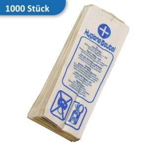 Deiss Hygienebeutel aus Papier / weiß mit blauem Aufdruck