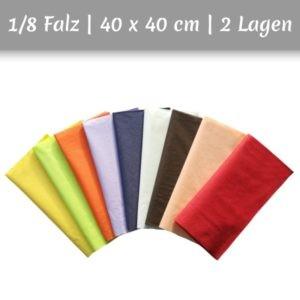 Servietten aus Zellstoff in mehreren Farben 1/8 Falz