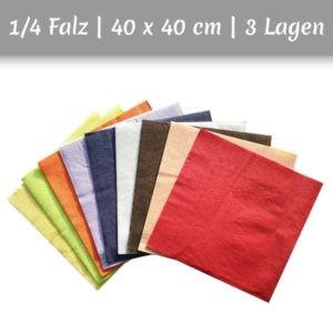 Servietten aus Zellstoff in mehreren Farben 1/4 Falz