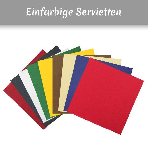 Einfarbige Airlaidservietten in bordeaux, schwarz, weiss, grün, gelb, braun, creme, blau, rot