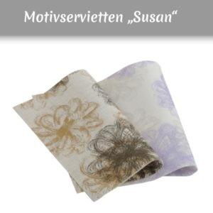 Airlaid Servietten mit Muster in braun und lila