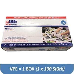 Eine Box ULITH Nitrilhandschuhe Gr. L, Blaue Einweghandschuhe aus Nitril