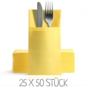 Gelbe Serviettentaschen Bestecktaschen günstig