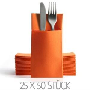 Orangene Serviettentaschen Bestecktaschen günstig