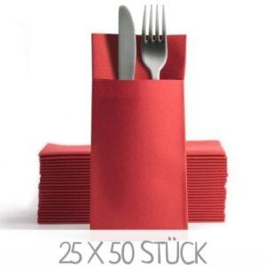 Rote Serviettentaschen Bestecktaschen günstig